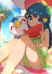 1girl absurdres aqua_hair bangs blue_eyes blush closed_mouth clouds commentary_request dawn_(pokemon) day eating eyelashes gen_4_pokemon green_sarong green_swimsuit hair_ornament hairclip highres knees lens_flare long_hair mouth_hold outdoors palm_tree piplup pokemon pokemon_(anime) pokemon_(creature) pokemon_dppt_(anime) sarong shiny shiny_skin sitting sky smile swimsuit taisa_(lovemokunae) tree watermelon_slice