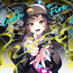 1girl :d album_cover animal_ears animal_hat bangs baseball_cap black_hair black_hoodie cat_ears cat_hat cityscape commentary cover denonbu eyebrows_visible_through_hair fake_animal_ears hat highres hood hood_down hoodie kurogane_tama long_sleeves looking_at_viewer nardack open_mouth outstretched_arms shirt short_hair smile solo upper_body white_shirt yellow_eyes