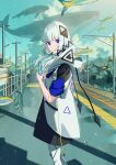 1girl bangs blue_eyes blue_sky blunt_bangs bottle cevio clouds cloudy_sky feet_out_of_frame fish highres holding holding_bottle hood hood_down kafu_(cevio) looking_at_viewer mountain parted_lips power_lines sako_(35s_00) shadow short_hair_with_long_locks sky solo surreal whale