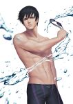 1boy abs black_hair blue_eyes free! goggles holding holding_goggles jammers male_focus male_swimwear nanase_haruka_(free!) navel parted_lips pectorals penguin_frontier short_hair solo splashing toned toned_male water wet wet_hair white_background