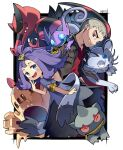 1boy 1girl acerola_(pokemon) alolan_form alolan_persian armlet banette bangs black_jacket blush commentary_request dress flipped_hair gen_3_pokemon gen_5_pokemon gen_7_pokemon grey_dress grey_eyes grey_hair hair_ornament hairclip highres jacket krookodile medium_hair mitsu_(mitu_328) multicolored multicolored_clothes multicolored_dress nanu_(pokemon) open_clothes open_jacket open_mouth palossand pokemon pokemon_(creature) pokemon_(game) pokemon_sm purple_hair red_eyes red_shirt sableye shirt short_sleeves signature smile smirk stitches teeth tongue topknot torn_clothes torn_dress