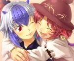 2girls :3 :d ^_^ animal_ears bad_id bad_pixiv_id blue_eyes cheek-to-cheek cheek_squash close-up closed_eyes earrings eyebrows face fangs fingernails friends happy hat head_wings heads_together highres horns hug jewelry long_fingernails multicolored_hair multiple_girls mystia_lorelei nail_polish one_eye_closed open_mouth photoshop_(medium) pink_hair pink_nails red_eyes shiba_itsuki silver_hair single_head_wing single_wing smile tokiko_(touhou) touhou two-tone_hair wings