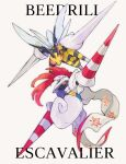 armor bee beedrill bug character_name commentary_request escavalier gen_1_pokemon gen_5_pokemon glowing glowing_eyes highres lance looking_up mega_beedrill mega_pokemon ngr_(nnn204204) no_humans plume pokemon pokemon_(creature) polearm red_eyes simple_background weapon white_background