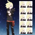 1boy ahoge asatsuki_(fgfff) bag bangs black_pants blonde_hair closed_mouth collarbone commentary_request ear_piercing expression_chart fanny_pack frown gladion_(pokemon) green_eyes hair_over_one_eye hand_on_own_wrist highres hood hood_down hoodie long_sleeves looking_at_viewer male_focus multiple_views orange_bag pants piercing pokemon pokemon_(game) pokemon_sm snowflakes standing torn_clothes torn_hoodie torn_pants