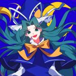 1girl bangs blue_background blue_capelet breasts capelet collared_shirt eyebrows_visible_through_hair eyes_visible_through_hair green_eyes green_hair hat head_tilt highres large_breasts long_hair long_sleeves mima_(touhou) mindoll open_mouth shirt smile solo sun_print touhou touhou_(pc-98) upper_body white_shirt witch_hat yellow_neckwear