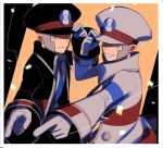 2boys black_coat black_headwear blue_neckwear border brothers closed_mouth coat collared_shirt commentary_request confetti delta_nonbiri emmet_(pokemon) frown gloves grey_coat grey_eyes grey_gloves grey_hair grey_headwear hand_on_headwear hand_up hat ingo_(pokemon) looking_at_viewer male_focus multiple_boys necktie open_clothes open_coat pointing pokemon pokemon_(game) pokemon_bw shirt short_hair siblings sideburns smile striped_coat white_border white_shirt