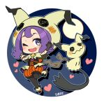 1girl ;d acerola_(pokemon) bangs bead_bracelet beads black_gloves black_legwear bracelet capelet chibi claw_pose commentary_request eyelashes gen_7_pokemon gloves grey_eyes hands_up heart hood hood_up hooded_capelet jewelry legwear_under_shorts mimikyu mitsu_(mitu_328) multicolored_footwear official_alternate_costume one_eye_closed open_mouth orange_bracelet orange_shorts pantyhose pokemon pokemon_(creature) pokemon_(game) pokemon_masters_ex purple_hair shoes shorts signature single_glove smile striped themed_object tongue vertical-striped_shorts vertical_stripes waist_cape