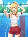 1girl arm_up bangs blonde_hair blue_sky bralines chain-link_fence closed_eyes clouds cloudy_sky commentary_request commission cowboy_shot day drill_locks empty_pool eyebrows_visible_through_hair facing_viewer fence gym_shirt gym_shorts gym_uniform holding holding_hose hose idolmaster idolmaster_cinderella_girls lielos navel ohtsuki_yui open_mouth outdoors partial_commentary pixiv_request pool red_shorts see-through shirt short_hair_with_long_locks short_sleeves shorts single_vertical_stripe sky smile solo standing tied_hair tied_shirt water wet wet_clothes wet_shirt