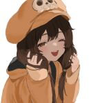 1girl :d \||/ bangs brown_eyes brown_hair coat eyebrows_behind_hair flasso guilty_gear hands_in_hair hat highres holding holding_hair light_blush long_hair long_sleeves looking_at_viewer low_twintails may_(guilty_gear) one_eye_closed open_mouth orange_coat simple_background skull_hat_ornament sleeves_past_wrists smile solo twintails upper_body upper_teeth white_background
