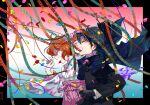 1boy 1girl black_cape black_gloves black_hair black_jacket cape confetti fate/grand_order fate_(series) fujimaru_ritsuka_(female) fujimaru_ritsuka_(male) gloves hat hino_tsukasa jacket japanese_clothes kimono laughing long_sleeves orange_hair peaked_cap pink_kimono pink_skirt print_kimono shirt skirt unmoving_pattern white_kimono white_shirt wide_sleeves yagasuri