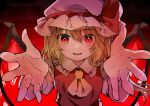 1girl ascot bangs blonde_hair bow commentary crystal eyebrows_visible_through_hair flandre_scarlet frilled_shirt_collar frills gradient gradient_background hat hat_bow hat_ribbon highres leaning_forward looking_at_viewer mob_cap open_mouth outstretched_hand reaching_out red_background red_bow red_eyes red_ribbon red_shirt red_theme ribbon shirt short_hair short_sleeves side_ponytail sidelocks smile solo tamagogayu1998 touhou upper_body wavy_hair white_headwear wings yellow_neckwear