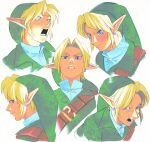 1boy :d bangs blonde_hair blue_eyes blush collarbone cropped_shoulders crying disgust earrings expressions face green_headwear green_shirt jewelry link looking_at_viewer looking_back lower_teeth male_focus multiple_views open_mouth pointy_ears serious shirt smile tears teeth the_legend_of_zelda the_legend_of_zelda:_ocarina_of_time uzucake v-shaped_eyebrows white_shirt