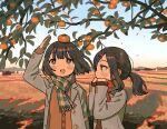 1girl 2girls autumn black_hair blue_sky cold food fruit gloves highres jacket leaf multiple_girls orange_(fruit) original persimmon ponytail scarf sky tree zinbei