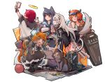 1boy 5girls :d absurdres animal animal_ears arknights bird black_dress black_footwear black_hair black_jacket black_shorts black_sleeves black_tank_top boots cat cat_ears cat_girl cat_tail commentary cow_horns croissant_(arknights) dress ear_piercing english_commentary exusiai_(arknights) eyewear_on_head fang full_body green_eyes grey_eyes grey_hair halo highres holding holding_paper hood hood_down horns jacket jumbowhopper lappland_(arknights) long_hair mousse_(arknights) multicolored_hair multiple_girls multiple_tails no_wings off_shoulder open_clothes open_jacket open_mouth orange_hair paper penguin piercing redhead selfie shield short_hair shorts sideways_mouth simple_background smile squatting standing streaked_hair sunglasses tail tank_top texas_(arknights) the_emperor_(arknights) v visor white_background white_hair white_headwear white_jacket wolf_ears wolf_girl wolf_tail writing yarn yarn_ball