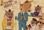3boys baba_atsuya beige_background boar commentary_request formal fukomo furry furry_male giraffe glasses horse microphone microphone_stand multiple_boys nagashima_satoshi odd_taxi shibagaki_kensuke simple_background suit sunglasses translation_request
