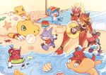 1boy agumon agumon_(data_squad) agunimon armor ball beach blue_eyes brown_eyes character_request claws commentary_request digimon digimon_(creature) digimon_adventure digimon_adventure_02 digimon_frontier digimon_savers digimon_tamers digimon_universe:_appli_monsters digimon_xros_wars digimon_xros_wars:_toki_wo_kakeru_shounen_hunter-tachi fang fangs food gatchmon guilmon gumdramon happy holding holding_food horned_mask ice innertube kim_gyuri knees_up looking_at_another mask open_mouth running sand seashell shell shoutmon sitting smile twitter_username veemon water