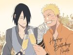 2boys alcohol bandages bangs black_hair blonde_hair boruto:_naruto_next_generations closed_eyes closed_mouth cubur cup drinking_glass fingerless_gloves gloves grey_shirt grey_vest grin hair_over_one_eye hand_on_own_chin happy_birthday highres holding holding_cup leaf long_sleeves looking_at_another multiple_boys naruto_(series) open_mouth orange_shirt outdoors shirt short_hair smile sunrise teeth uchiha_sasuke uzumaki_naruto vest wine wine_glass
