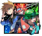 1girl 2boys :d air_bubble baseball_cap black_shirt black_wristband blue_jacket blue_oak brown_eyes brown_hair bubble camouflage camouflage_headwear coat commentary_request fire green_coat green_headwear grin hand_up hands_up hat highres holding holding_poke_ball jacket jewelry leaf_(pokemon) long_sleeves mitsu_(mitu_328) multiple_boys necklace official_alternate_costume open_clothes open_coat open_mouth pants poke_ball poke_ball_(basic) pokemon pokemon_(game) pokemon_masters_ex red_(pokemon) red_coat red_headwear shirt short_hair sleeveless_coat smile spiky_hair teeth tongue upper_teeth wristband