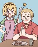 1boy 1girl :d =_= alcohol apron bangs beer blonde_hair blue_background blush blush_stickers character_request closed_eyes collared_shirt commentary_request dress eyebrows_visible_through_hair fang food green_dress hand_on_hip higurashi_no_naku_koro_ni holding houjou_satoko ladle light_brown_hair nekotoufu open_mouth own_hands_together palms_together plate puffy_short_sleeves puffy_sleeves purple_apron red_shirt sailor_collar sailor_dress shirt short_sleeves simple_background smile star_(symbol) violet_eyes white_sailor_collar