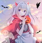 1girl animal apron bangs bat black_ribbon blush capelet clouds commentary demon_horns double_bun dress eyebrows_visible_through_hair frilled_apron frilled_dress frilled_shirt frills ghost grey_hair hair_between_eyes hands_up holding horns jack-o'-lantern long_hair looking_at_viewer original outdoors parted_lips red_capelet red_dress ribbon shirogane_hina shirt solo striped striped_shirt sunset symbol-only_commentary two_side_up vertical-striped_shirt vertical_stripes very_long_hair violet_eyes waist_apron white_apron