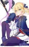 1girl artist_name artoria_pendragon_(caster)_(fate) artoria_pendragon_(fate) black_gloves black_legwear blonde_hair blue_cloak blush boots clear_regulus cloak fate/grand_order fate_(series) gloves green_eyes hair_between_eyes hat headwear_removed high_heels holding holding_clothes holding_hat looking_at_viewer mage_staff pantyhose pink_ribbon ribbon short_hair side_ponytail smile solo white_background