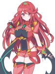 1girl absurdres alternate_hairstyle bangs black_gloves breasts chest_jewel earrings fingerless_gloves gloves highres jewelry kotohatoko510 large_breasts long_hair pyra_(xenoblade) red_eyes red_legwear red_shorts redhead short_shorts shorts solo swept_bangs thigh-highs tiara xenoblade_chronicles_(series) xenoblade_chronicles_2