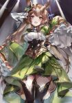 1girl :d animal_ears bangs black_legwear blush breasts brown_eyes brown_hair commentary_request corset cropped_jacket ear_ribbon eyebrows_visible_through_hair frilled_sleeves frills green_jacket green_skirt hand_up highres hinahino horse_ears horse_girl jacket long_hair long_sleeves open_mouth satono_diamond_(umamusume) shirt skirt sleeves_past_fingers sleeves_past_wrists smile solo stage_lights standing thigh-highs umamusume very_long_hair white_shirt