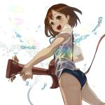 1girl :d ass bangs black_swimsuit blue_neckwear brown_eyes brown_hair commentary cowboy_shot dress_shirt from_behind from_below guitar hair_ornament hairclip highres hirasawa_yui holding holding_instrument instrument jeon_yong_ileum k-on! looking_at_viewer looking_back music neck_ribbon no_pants one-piece_swimsuit open_mouth playing_instrument ribbon school_swimsuit school_uniform shirt short_hair short_sleeves smile splashing standing swimsuit swimsuit_under_clothes water water_drop wet wet_clothes wet_shirt white_background white_shirt