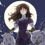 1girl ashigara_(kancolle) breasts brown_hair fudeyama_(fudeco) full_moon kantai_collection long_hair medium_breasts moon orange_eyes smile solo wolf