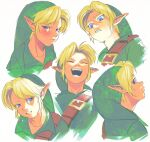 1boy :d bangs blonde_hair blue_eyes blush closed_eyes collarbone cropped_shoulders crying disgust expressions face from_below green_headwear green_shirt laughing light link looking_at_viewer looking_back male_focus multiple_views open_mouth pointy_ears shirt smile tears teeth the_legend_of_zelda the_legend_of_zelda:_ocarina_of_time upper_teeth uzucake v-shaped_eyebrows
