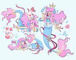 1girl head_fins highres hoaxghost kururun_(precure) laura_(precure) long_hair mermaid midriff monster_girl multiple_views pearl_hair_ornament pink_hair precure solo split_tail tropical-rouge!_precure