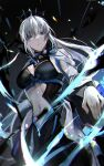 1girl absurdres black_background blue_ribbon breasts cape dutch_angle fate/grand_order fate_(series) from_below frown green_eyes grey_cape grey_hair highres large_breasts long_hair looking_at_viewer morgan_le_fay_(fate) navel ribbon solo zaza_(zazam_s)