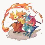 commentary_request delphox eyelashes fire furry gen_6_pokemon greninja holding holding_stick looking_to_the_side ngr_(nnn204204) pokemon pokemon_(creature) squatting stick strap sword toes weapon yellow_eyes