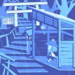 1girl bangs bench blue_theme chibi closed_eyes cobalta from_side full_body hat lantern long_sleeves moriya_suwako rain short_hair sidelocks sitting solo torii touhou tree wide_sleeves