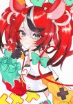 1girl :3 absurdres animal_ear_fluff animal_ears aqua_bow aqua_sleeves bangs black_gloves black_hair blue_eyes bow cheese collar dice_hair_ornament food gloves hair_ornament hakos_baelz highres hololive hololive_english huge_filesize looking_at_viewer midriff mouse mouse_ears mouse_girl mouse_tail mousetrap mr._squeaks_(hakos_baelz) multicolored_hair nekoma_mimu off-shoulder_shirt off_shoulder puffy_sleeves red_sleeves redhead shirt sidelocks signature spiked_collar spikes tail tail_bow tail_ornament twintails virtual_youtuber white_hair white_shirt yellow_sleeves