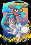 :d absurdres alternate_color black_border border collar commentary_request eevee energy fang gen_1_pokemon gen_4_pokemon green_eyes highres looking_at_viewer no_humans nullma open_mouth outstretched_arm pokemon pokemon_(creature) red_collar riolu shiny_pokemon signature smile tongue