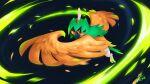 artbyvalence beak bird commentary decidueye full_body gen_7_pokemon highres leaves_in_wind looking_at_viewer no_humans orange_eyes pokemon pokemon_(creature) signature solo talons
