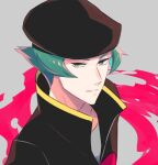 1boy brown_headwear brown_jacket commentary_request delta_nonbiri green_eyes green_hair hat jacket looking_at_viewer male_focus parted_lips pokemon pokemon_(game) pokemon_hgss proton_(pokemon) short_hair smile solo team_rocket team_rocket_uniform upper_body