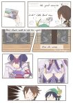 1girl 2boys :d absurdres animal_on_lap beiyi16 blurry blurry_background book english_text fox genshin_impact haori highres japanese_clothes kimono long_hair looking_at_viewer mitsudomoe_(shape) multiple_boys open_mouth photo_(object) purple_hair raiden_shogun signature sitting smile surprised tomoe_(symbol) twitter_username very_long_hair violet_eyes younger