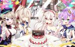 5girls animal_ears ayanami_(azur_lane) azur_lane bare_shoulders beret black_choker black_hair blouse blue_headwear blue_sailor_collar bow breasts buttons cake cake_slice camisole choker closed_eyes coat coat_dress crop_top cross_hair_ornament crown double-breasted eyebrows_visible_through_hair fake_animal_ears flat_chest food fork fruit fur-trimmed_coat fur_trim gloves green_eyes hair_bow hair_ornament hairband hat headgear high_ponytail highres hood indoors jacket javelin_(azur_lane) laffey_(azur_lane) large_breasts leer.meer light_brown_hair long_hair looking_at_viewer looking_out_window medium_breasts medium_hair mini_crown multiple_girls padded_coat pamiat_merkuria_(azur_lane) peaked_cap pink_eyes pink_jacket plate platinum_blonde_hair ponytail purple_hair purple_ribbon rabbit_ears red_eyes red_hairband ribbon round_table russian_clothes sailor_collar sideboob single_glove sleeveless small_breasts strap_slip strawberry twintails violet_eyes white_camisole white_coat white_gloves white_hair white_headwear wide_ponytail window yellow_neckwear z23_(azur_lane)