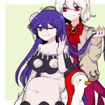 2girls beige_jacket blue_eyes blue_hair bow bowtie braid comb combing doremy_sweet dress french_braid hand_in_another's_hair headwear_removed highres kishin_sagume long_hair long_sleeves mindoll multiple_girls one_eye_closed pink_eyes pom_pom_(clothes) purple_dress red_neckwear short_hair sitting smile touhou white_hair