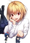 1boy 2girls ahoge anger_vein angry arcueid_brunestud bangs black_hair black_legwear blonde_hair blue_hair blue_jacket blue_pants blue_skirt buttons chibi ciel_(tsukihime) closed_mouth commentary_request crossed_legs eyebrows_visible_through_hair fingernails glasses grey_skirt hair_between_eyes hair_intakes hand_on_another's_head hand_on_own_chin herigaru_(fvgyvr000) highres jacket long_sleeves lying miniboy minigirl miniskirt multiple_girls nail_polish open_clothes open_jacket open_mouth pants pantyhose pink_nails pleated_skirt red_eyes school_uniform short_hair sidelocks simple_background sitting size_difference skirt smile sweater tohno_shiki tsukihime tsukihime_(remake) turtleneck turtleneck_sweater upper_teeth vampire vest white_background white_sweater yellow_vest