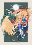 arrow_(projectile) border commentary_request decidueye eye_contact feathers furry gen_6_pokemon gen_7_pokemon glowing glowing_eyes greninja highres holding looking_at_another ngr_(nnn204204) orange_eyes pokemon pokemon_(creature) toes