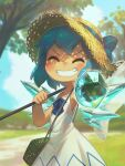 1girl absurdres animal armpits artist_name bangs blue_bow blue_hair blue_ribbon blurry blush bow butterfly_net cirno cirno_day closed_eyes clouds collarbone commentary cowboy_shot dated depth_of_field dress dress_bow english_commentary facing_viewer foreshortening frog frozen frozen_frog grass grin hand_net hat hat_bow hat_ribbon highres holding holding_animal ice ice_wings medium_hair outdoors outstretched_arm porforever ribbon sky sleeveless sleeveless_dress smile solo straw_hat touhou tree v-shaped_eyebrows white_dress wings