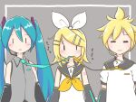 1boy 2girls :  =_= aqua_eyes aqua_hair aqua_neckwear arm_warmers bangs bare_shoulders bass_clef black_sleeves blonde_hair bow closed_eyes closed_mouth collar collared_shirt detached_sleeves expressionless facing_viewer grey_background grey_collar grey_shirt hair_bow hair_ornament hairclip hatsune_miku headset kagamine_len kagamine_rin light_blush long_hair looking_at_viewer meme moomlin mouth_hold multiple_girls neckerchief necktie necktie_in_mouth sailor_collar school_uniform shirt short_hair short_sleeves shoulder_tattoo sleeveless sleeveless_shirt spiky_hair swept_bangs tattoo translated treble_clef twintails unamused upper_body very_long_hair vocaloid white_bow white_shirt yellow_neckwear  _ 