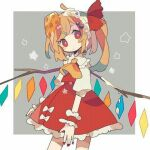 1girl :d_(17812157) blonde_hair bow branch closed_mouth crystal dress flandre_scarlet grey_background looking_at_viewer lowres red_bow red_dress red_eyes red_handwear red_ribbon ribbon short_sleeves simple_background solo square star_(symbol) touhou white_background yellow_neckwear