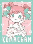 1girl :3 aqua_border aqua_eyes bangs bare_shoulders bear_hair_ornament blush border bow bowtie closed_mouth double_bun elbow_rest food_print frilled_shirt frilled_sleeves frills hair_ornament hairclip halftone hand_on_own_cheek hand_on_own_face hand_up head_rest head_tilt highres keke_(kotowari) limited_palette long_sleeves looking_at_viewer multicolored multicolored_eyes multicolored_nails nail_polish no_nose off-shoulder_shirt off_shoulder original outside_border pink_background pink_eyes pink_hair pink_shirt print_shirt puffy_long_sleeves puffy_sleeves romaji_text shirt signature sleeves_past_elbows smile solo spaghetti_strap straight-on striped striped_bow striped_neckwear stuffed_animal stuffed_toy swept_bangs tareme teddy_bear upper_body