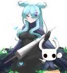 1girl 1other ? absurdres black_bodysuit blue_butterfly blue_cape blue_eyes blue_hair blush bodysuit breasts bug butterfly cape closed_mouth cosplay crossover elira_pendora grass hair_ornament hair_over_one_eye hairclip head_wings highres holding holding_sword holding_weapon hollow_knight horns juneplums knight_(hollow_knight) knight_(hollow_knight)_(cosplay) long_hair looking_at_viewer medium_breasts nijisanji nijisanji_en one_eye_covered simple_background sitting slit_pupils smile spoken_question_mark sword weapon white_background