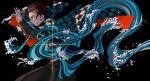 1boy absurdres belt black_jacket black_pants checkered checkered_jacket commentary earrings hakama hakama_pants hanafuda haori highres hino_tsukasa holding holding_sword holding_weapon jacket japanese_clothes jewelry kamado_tanjirou katana kimetsu_no_yaiba long_sleeves male_focus pants redhead scar scar_on_face scar_on_forehead solo sword water weapon white_belt wide_sleeves