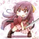 1girl aoba_(akibajun) boots bow brown_footwear chibi commentary_request cross-laced_footwear floral_background hair_bow hakama hakama_skirt highres japanese_clothes kamikaze_(kancolle) kantai_collection kimono lace-up_boots long_hair meiji_schoolgirl_uniform petals pink_hakama purple_hair red_kimono skirt solo sword violet_eyes weapon yellow_bow